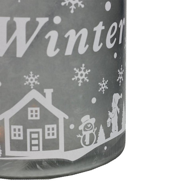 "10"" Silver White Iced Winter Scene Decorative Christmas Pillar Candle Holder Lantern with Handle"""