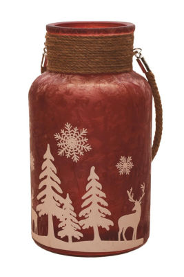 Decorative Christmas Pillar Candle Holder Lanternwith Handle