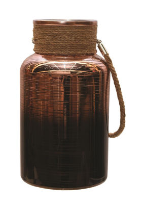 "10"" Copper Brown Circle Design Decorative Pillar Candle Holder Lantern with Handle"""