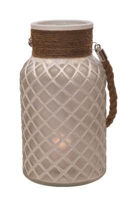 "10"" White Diamond Texture Decorative Glass PillarCandle Holder Lantern with Handle"""