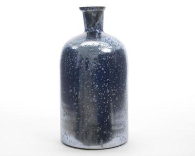 "10"" Winter Light Handcrafted Weathered Metallic Blue Decorative Christmas Glass Vase"""