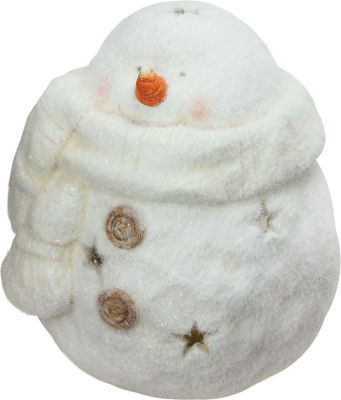 "10.75"" Decorative White Tealight Snowman With StarCut-Outs Christmas Candle Holder"""