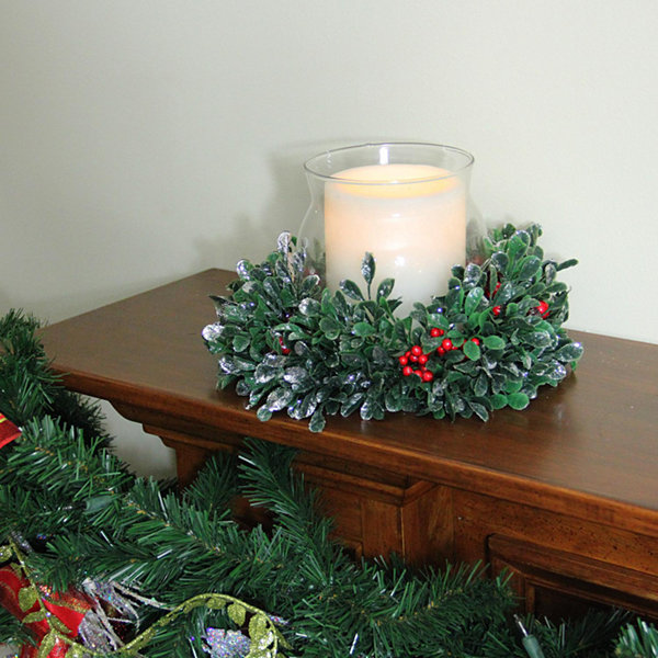 "11"" Boxwood and Berry Silver Tipped Christmas Hurricane Pillar Candle Holder"""