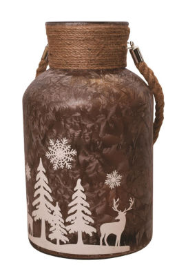 "12"" Brown Iced White Winter Scene Decorative Christmas Pillar Candle Holder Lantern with Handle"""