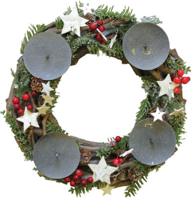 """12"""" Frosted Pine  Pine Cones  Berries and Stars Twig Advent Pillar Candle Holder"""""""