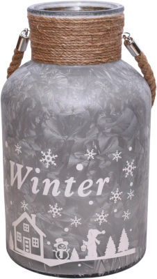 """12"""" Silver White Iced Winter Scene Decorative Christmas Pillar Candle Holder Lantern with Handle"""""""