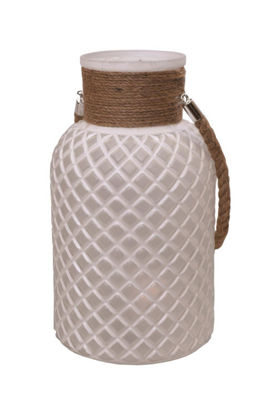 "12.25"" White Diamond Texture Decorative Glass Pillar Candle Holder Lantern with Handle"""