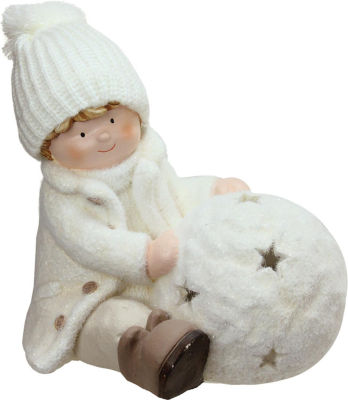 """12.5"""" White Tealight Snowball with Sitting Boy Christmas Candle Holder"""""""