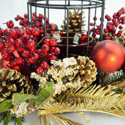 "13"" Berry & Pine Cone Red Hurricane Glass in Birdcage Christmas Pillar Candle Holder"""