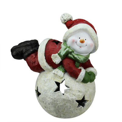"15"" Red and Green Snowman and Snowball Christmas Tea Light Candle Holder"""