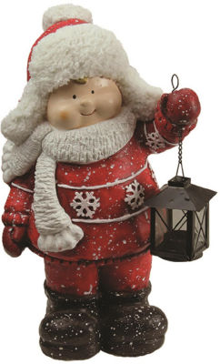 "16.50"" Christmas Morning Boy Holding Tealight Lantern Christmas Tabletop Figure"""