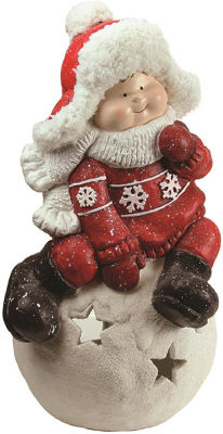 "19.25"" Christmas Morning Boy on a Snowball Christmas Tealight Candle Holder"""