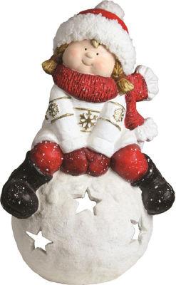 "19.25"" Christmas Morning Girl on a Snowball Christmas Tealight Candle Holder"""