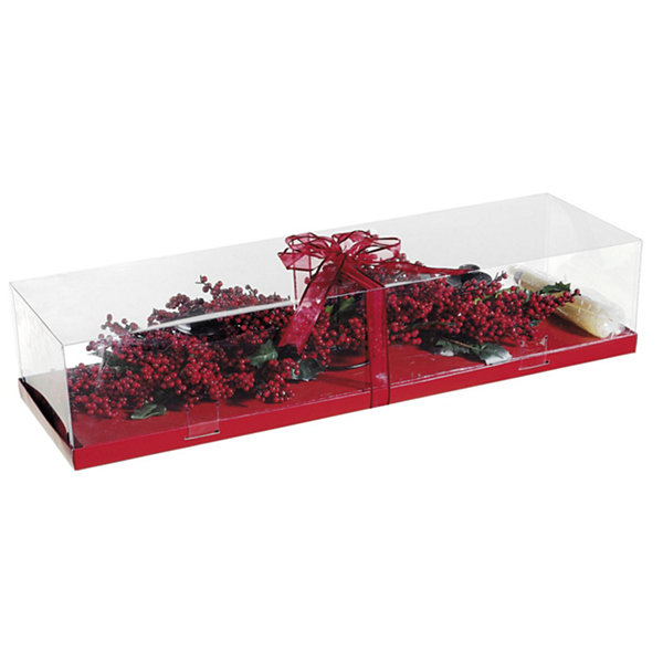 "28"" Red Berry 3 Candle Holder Centerpiece With Candles - Gift Boxed"""