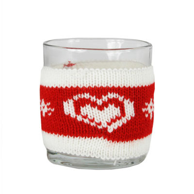 "3.25"" Red and White Knitted Heart Design Votive Christmas Candle Holder"""