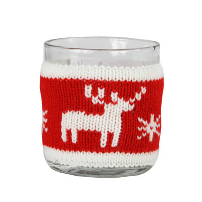 "3.25"" Red and White Knitted Reindeer Design VotiveChristmas Candle Holder"""