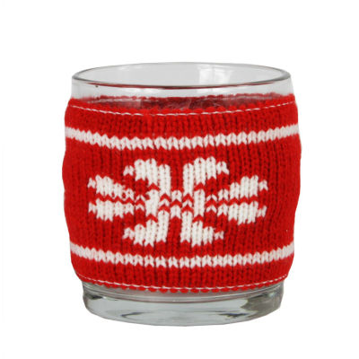 "3.25"" Red and White Knitted Snowflake Design Votive Christmas Candle Holder"""