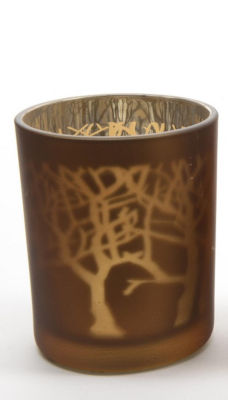 "3.5"" Luxury Lodge Glass Bronze and Silver Laser Tree Christmas Tea Light Candle Holder"""