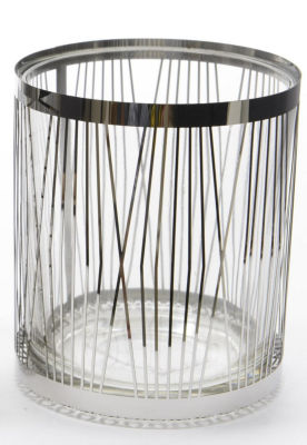 "4"" City Chic Glass Votive Candle Holder with Stainless Steel Cover"""
