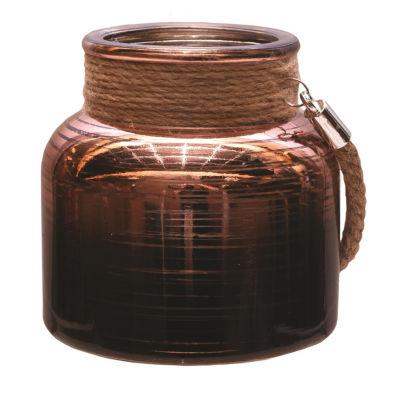 "4.75"" Copper Brown Circle Design Decorative PillarCandle Holder Lantern with Handle"""