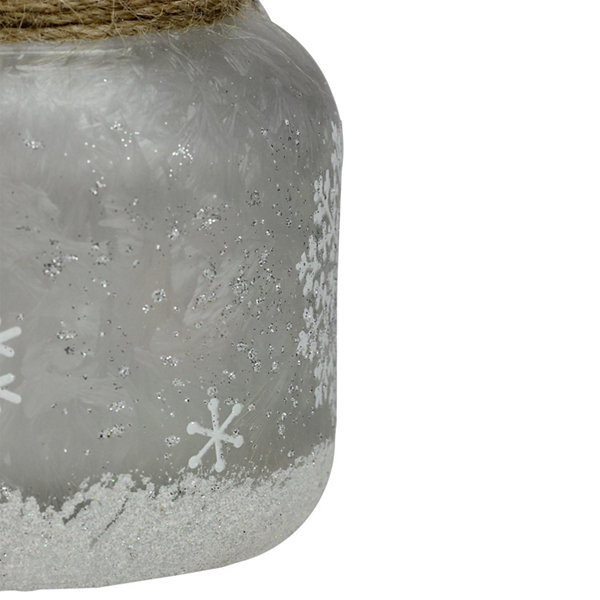 "4.75"" White Iced with Glittered Snowflakes Decorative Pillar Candle Holder Lantern with Handle"""