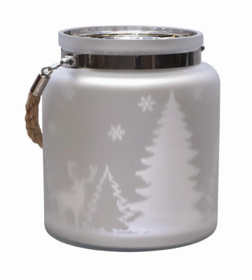 "6"" Matte Silver Winter Scene Decorative ChristmasPillar Candle Holder Lantern with Handle"""