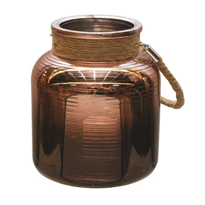 "6.25"" Copper Brown Circle Design Decorative PillarCandle Holder Lantern with Handle"""