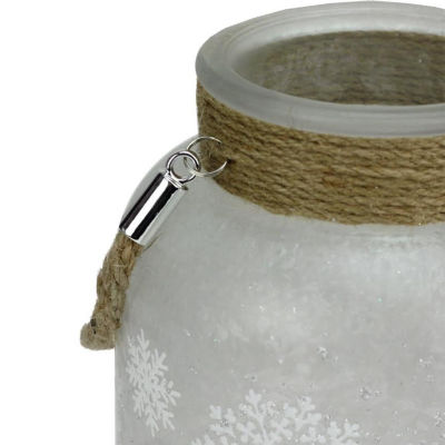 "6.25"" White Iced with Glittered Snowflakes Decorative Pillar Candle Holder Lantern with Handle"""