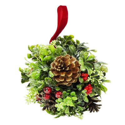 "7"" Glittered Artificial Boxwood  Berry & Pine Cone Christmas Kissing Topiary Ball"""