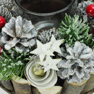 "7.25"" Winter Glitter Pine  Berry  Star and FloralFrosted Votive Candle Holder"""