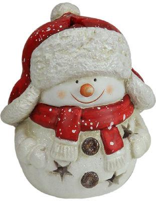 "7.75"" Christmas Morning Terracotta Snowman Decorative Christmas Tealight Candle Holder"""