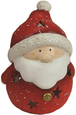 "9"" Christmas Morning Terracotta Santa Claus Decorative Christmas Tealight Candle Holder"""