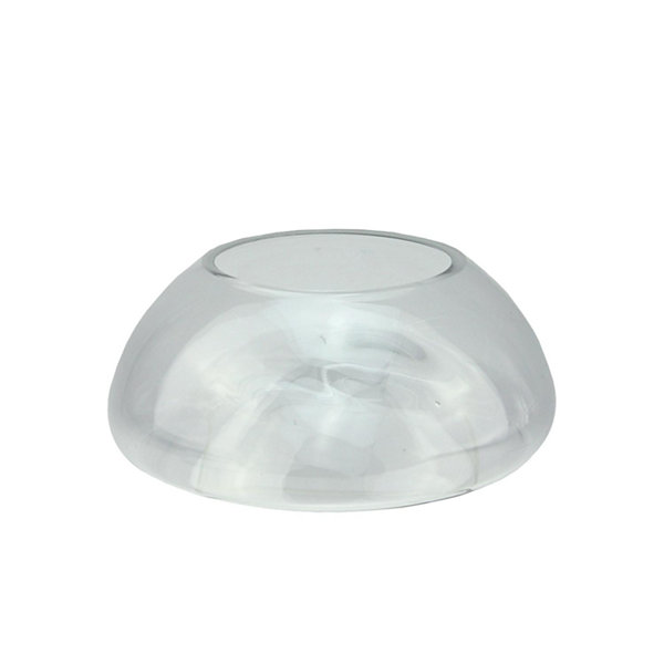 "9"" Transparent Glass Pillar Candle Holder with Concave Interior"""