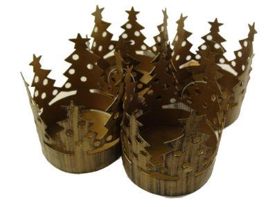 Club Pack of 72 Brass Christmas Tree Pillar CandleHolders