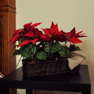 "24"" Red Christmas Poinsetta Floral Wicker Basket"
