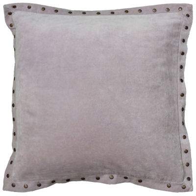 "Rizzy Home Antique Brass Metal Studs On The FlangeSquare Throw Pillow - 18"" x 18"""