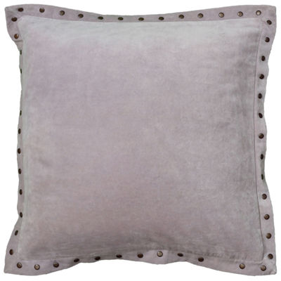 "Rizzy Home Antique Brass Metal Studs On The FlangeSquare Throw Pillow - 18"" x 18"