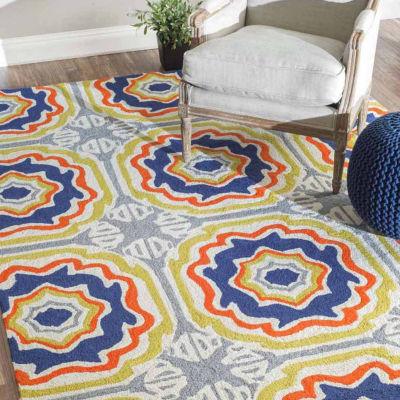 nuLoom Hand Hooked Sevilla Tiles Indoor/Outdoor Rug