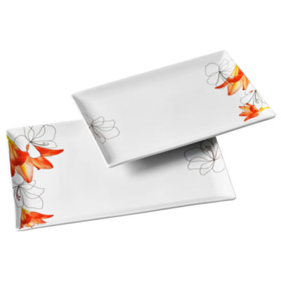 Tabletops Unlimited Decal & White Serving Platter