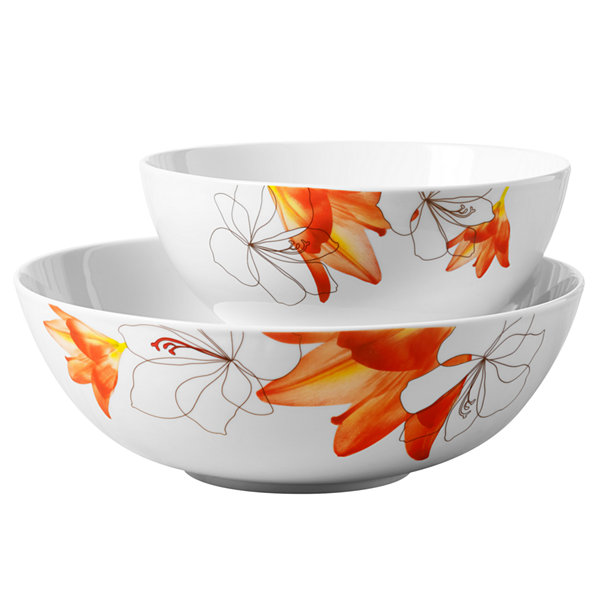 Tabletops Unlimited Decal & White 2-pc. Serving Bowl