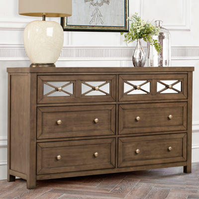 Possibilities 6-Drawer Mirrored Dresser