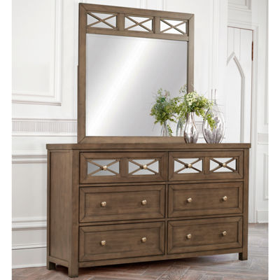 Possibilities 6-Drawer Mirrored Dresser and Mirror