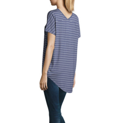 a.n.a Short Sleeve V Neck Jersey Stripe T-Shirt