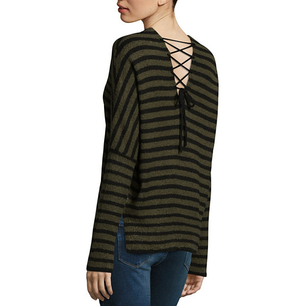 a.n.a Long Sleeve Crew Neck Stripe Pullover Sweater