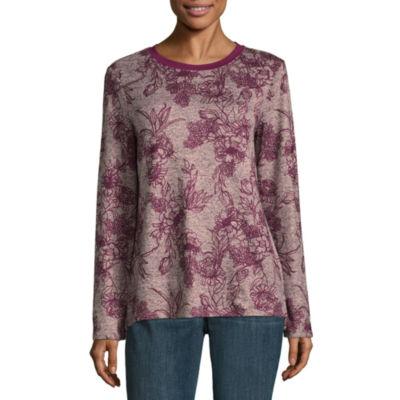 St. John's Bay Long Sleeve Round Neck Floral T-Shirt-Womens