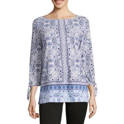 Liz Claiborne 3/4 Sleeve Boat Neck Floral T-Shirt-Womens