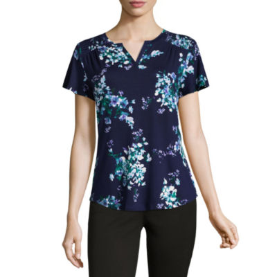 Liz Claiborne Short Sleeve Split Crew Neck Floral T-Shirt-Womens