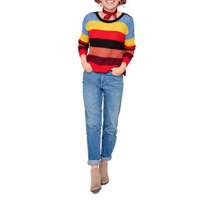 Arizona Long Sleeve Scoop Neck Stripe Pullover Sweater-Juniors