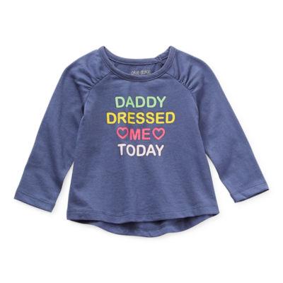 Okie Dokie Baby Girls Round Neck Long Sleeve Graphic T-Shirt