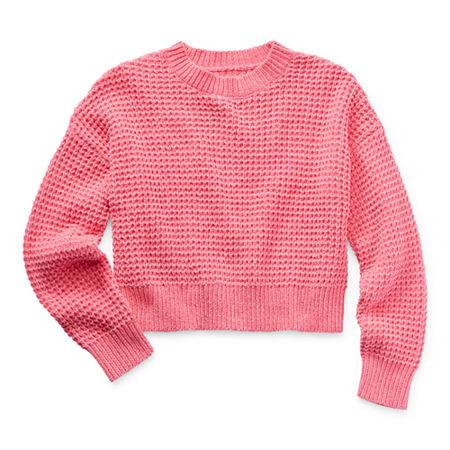 Arizona Little & Big Girls Round Neck Long Sleeve Pullover Sweater, Large (14.5/16.5) Plus , Pink - 38232040216